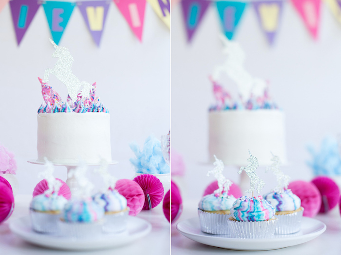 Unicorn cake and cupcakes from a Vibrant Unicorn Party on Kara's Party Ideas | KarasPartyIdeas.com (10)
