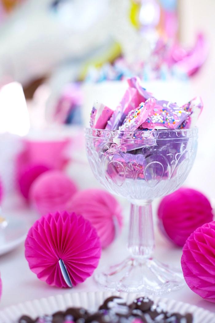 Unicorn chocolate bark from a Vibrant Unicorn Party on Kara's Party Ideas | KarasPartyIdeas.com (9)