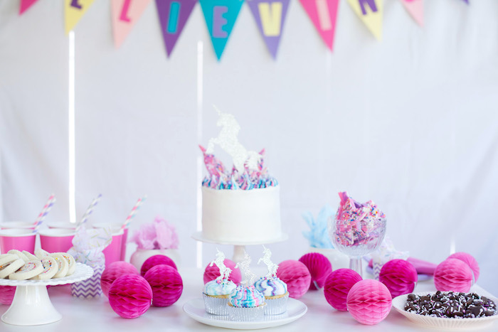 Vibrant unicorn party table from a Vibrant Unicorn Party on Kara's Party Ideas | KarasPartyIdeas.com (8)