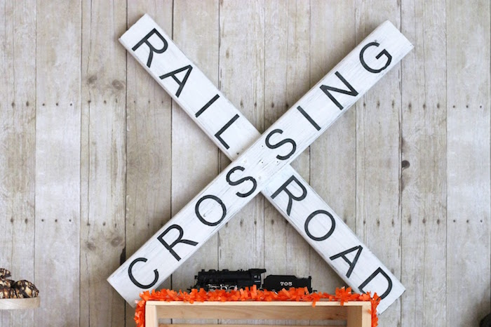 Railroad Crossing sign from a Vintage Classic Train Themed Birthday Party on Kara's Party Ideas | KarasPartyIdeas.com (12)