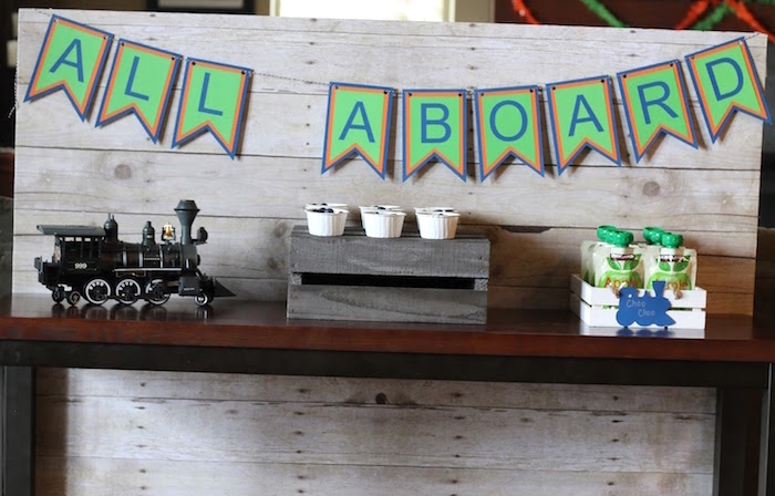 All Aboard party banner + train party decor from a Vintage Classic Train Themed Birthday Party on Kara's Party Ideas | KarasPartyIdeas.com (10)