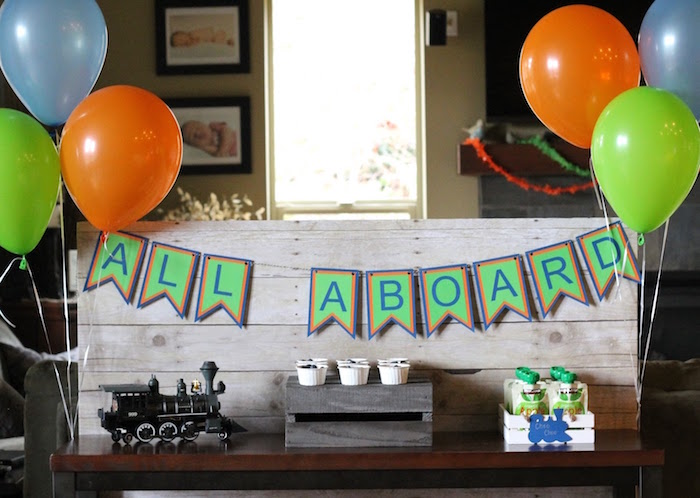 Train party table from a Vintage Classic Train Themed Birthday Party on Kara's Party Ideas | KarasPartyIdeas.com (9)