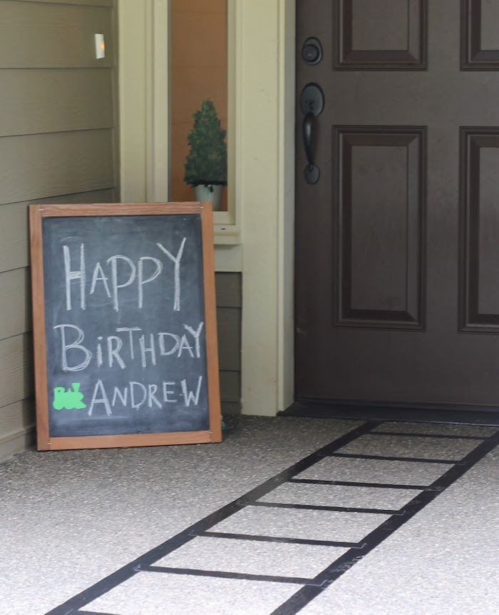 Railroad track entrance from a Vintage Classic Train Themed Birthday Party on Kara's Party Ideas | KarasPartyIdeas.com (7)
