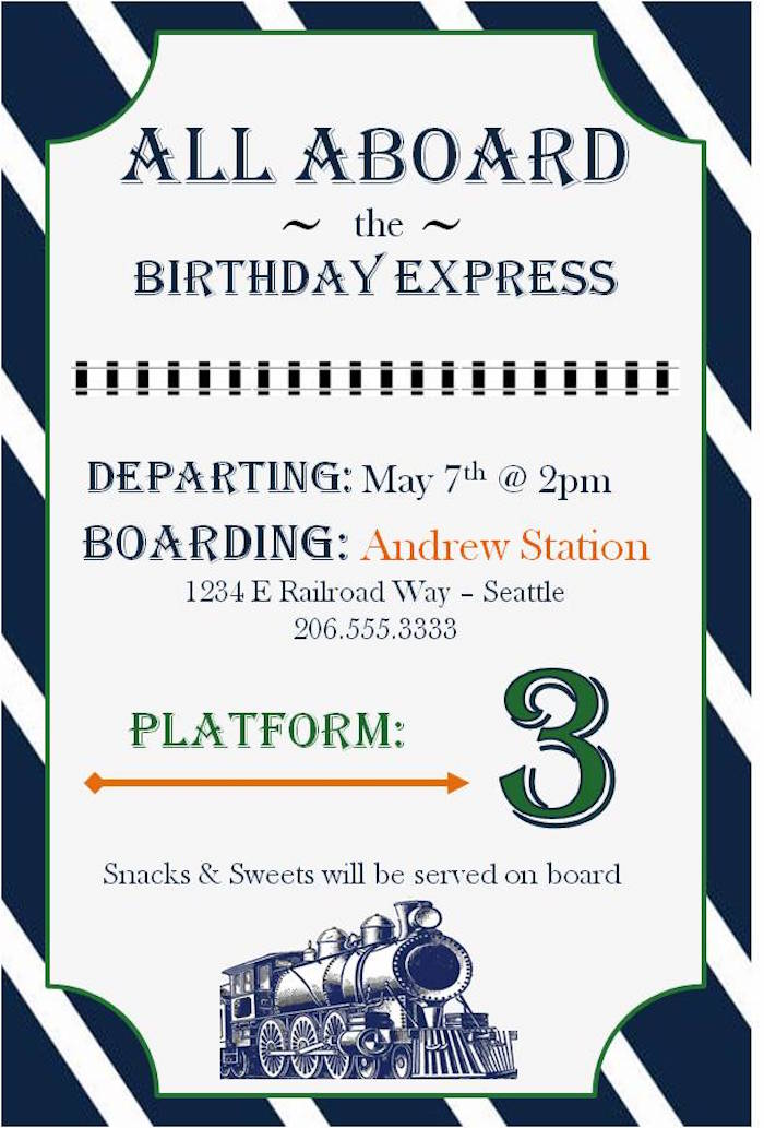 kara's party ideas vintage classic train themed birthday party, Party invitations