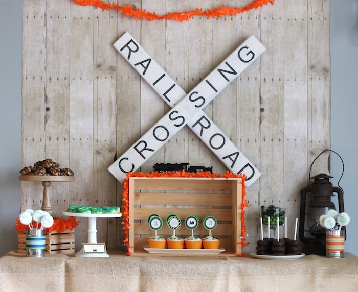 Train-inspired dessert table from a Vintage Classic Train Themed Birthday Party on Kara's Party Ideas | KarasPartyIdeas.com (19)