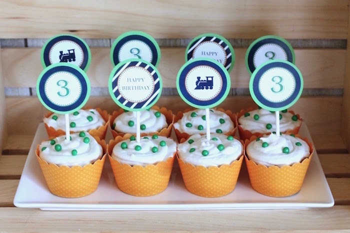 Cupcakes from a Vintage Classic Train Themed Birthday Party on Kara's Party Ideas | KarasPartyIdeas.com (18)