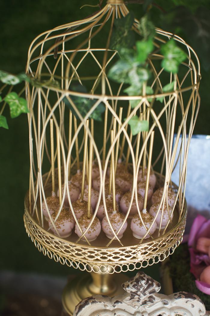 Cake pops in a cage from a Vintage Enchanted Garden Birthday Party on Kara's Party Ideas | KarasPartyIdeas.com (31)