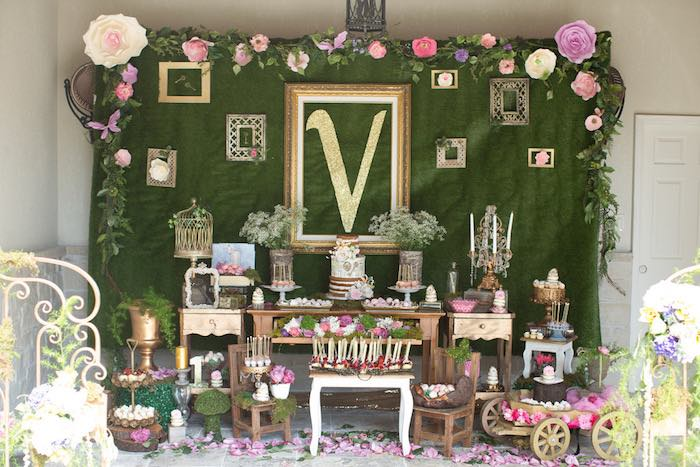 Garden dessert spread from a Vintage Enchanted Garden Birthday Party on Kara's Party Ideas | KarasPartyIdeas.com (30)