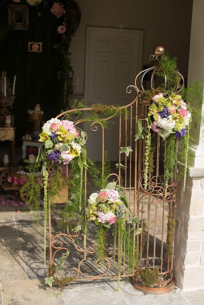 Gate from a Vintage Enchanted Garden Birthday Party on Kara's Party Ideas | KarasPartyIdeas.com (29)