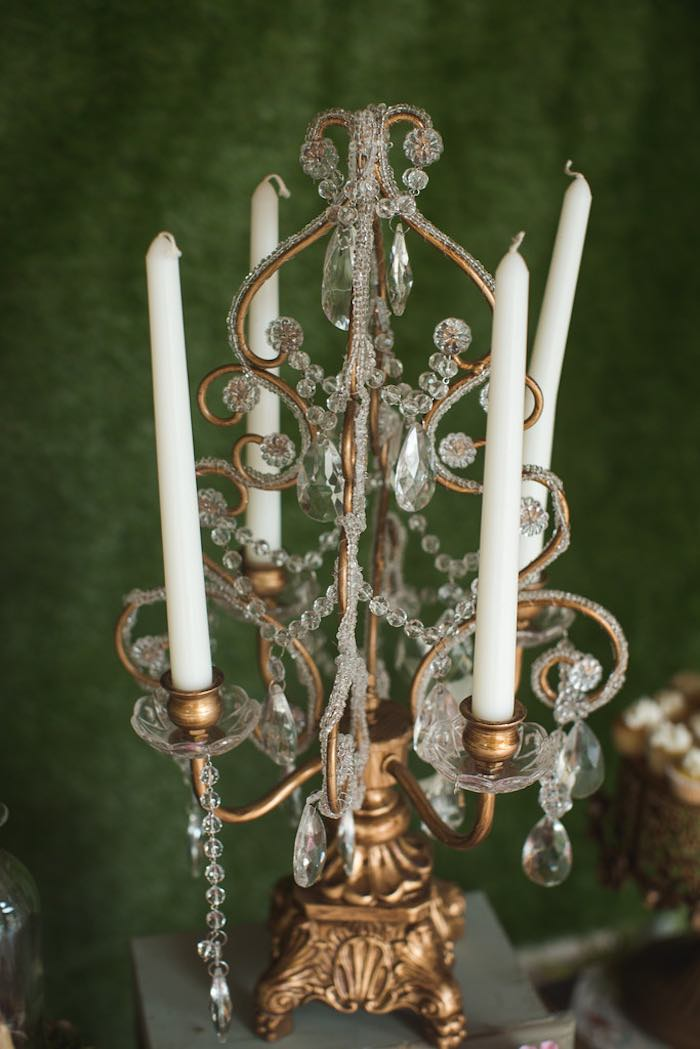 Candlestick from a Vintage Enchanted Garden Birthday Party on Kara's Party Ideas | KarasPartyIdeas.com (26)