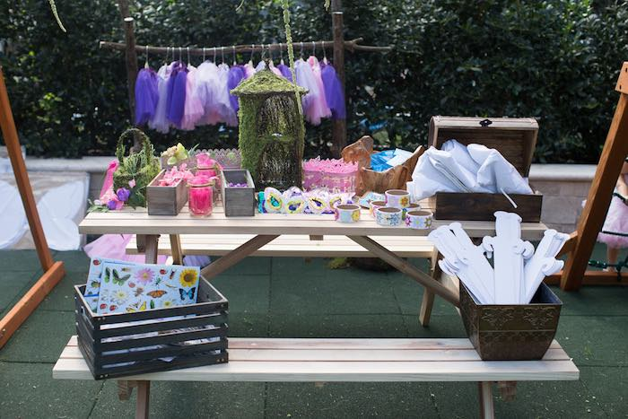 Activity table from a Vintage Enchanted Garden Birthday Party on Kara's Party Ideas | KarasPartyIdeas.com (21)