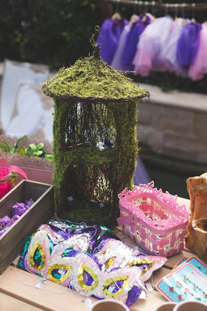 Moss lantern/fairy house from a Vintage Enchanted Garden Birthday Party on Kara's Party Ideas | KarasPartyIdeas.com (20)