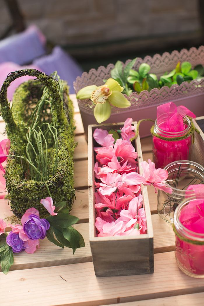 Floral crown supplies from a Vintage Enchanted Garden Birthday Party on Kara's Party Ideas | KarasPartyIdeas.com (19)