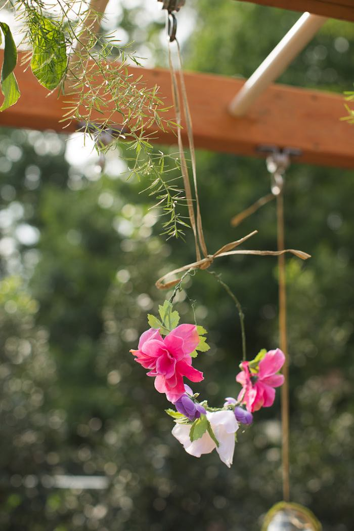 Hanging floral crown from a Vintage Enchanted Garden Birthday Party on Kara's Party Ideas | KarasPartyIdeas.com (17)