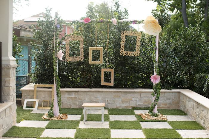 Photo garden backdrop from a Vintage Enchanted Garden Birthday Party on Kara's Party Ideas | KarasPartyIdeas.com (15)