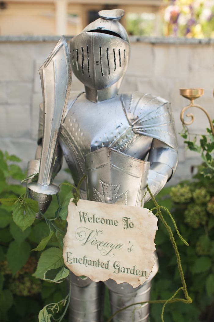Welcome knight sign from a Vintage Enchanted Garden Birthday Party on Kara's Party Ideas | KarasPartyIdeas.com (12)