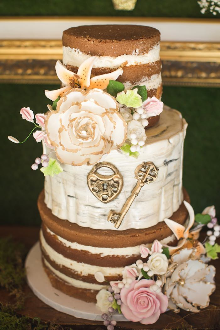 Naked cake from a Vintage Enchanted Garden Birthday Party on Kara's Party Ideas | KarasPartyIdeas.com (39)