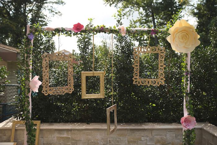 Hanging frames & paper flowers from a Vintage Enchanted Garden Birthday Party on Kara's Party Ideas | KarasPartyIdeas.com (11)