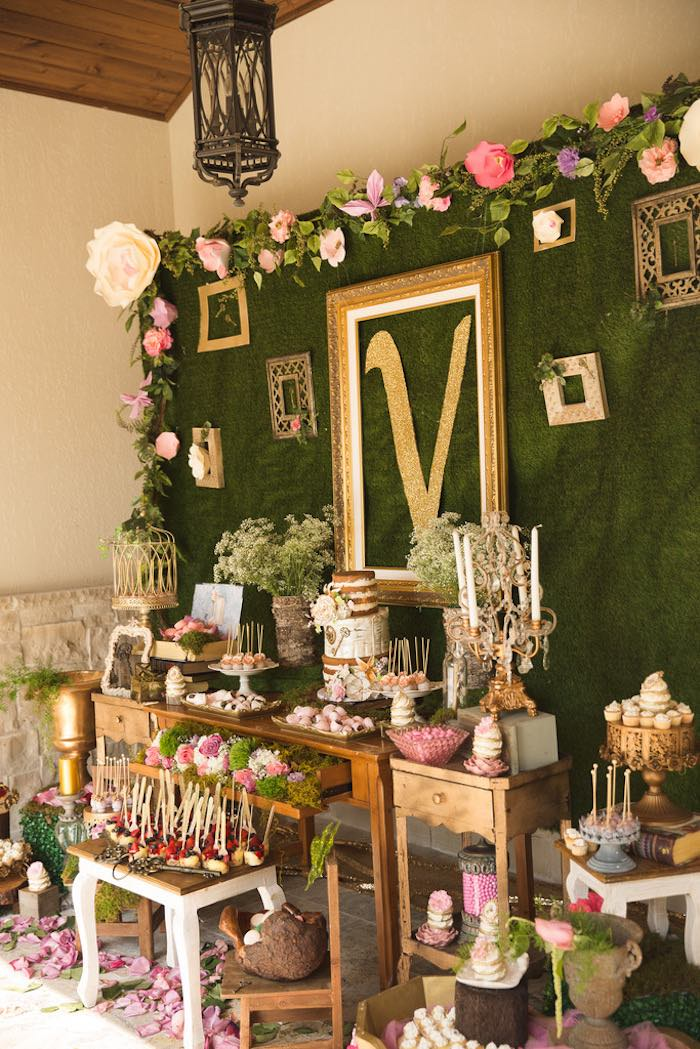 Dessert table from a Vintage Enchanted Garden Birthday Party on Kara's Party Ideas | KarasPartyIdeas.com (9)
