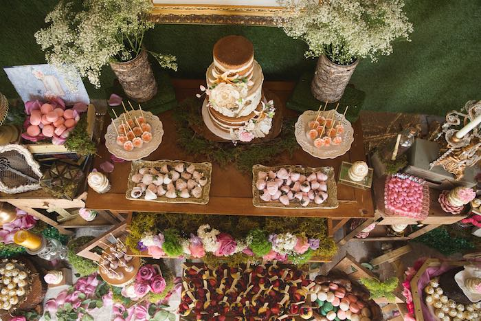 Dessert table top from a Vintage Enchanted Garden Birthday Party on Kara's Party Ideas | KarasPartyIdeas.com (8)