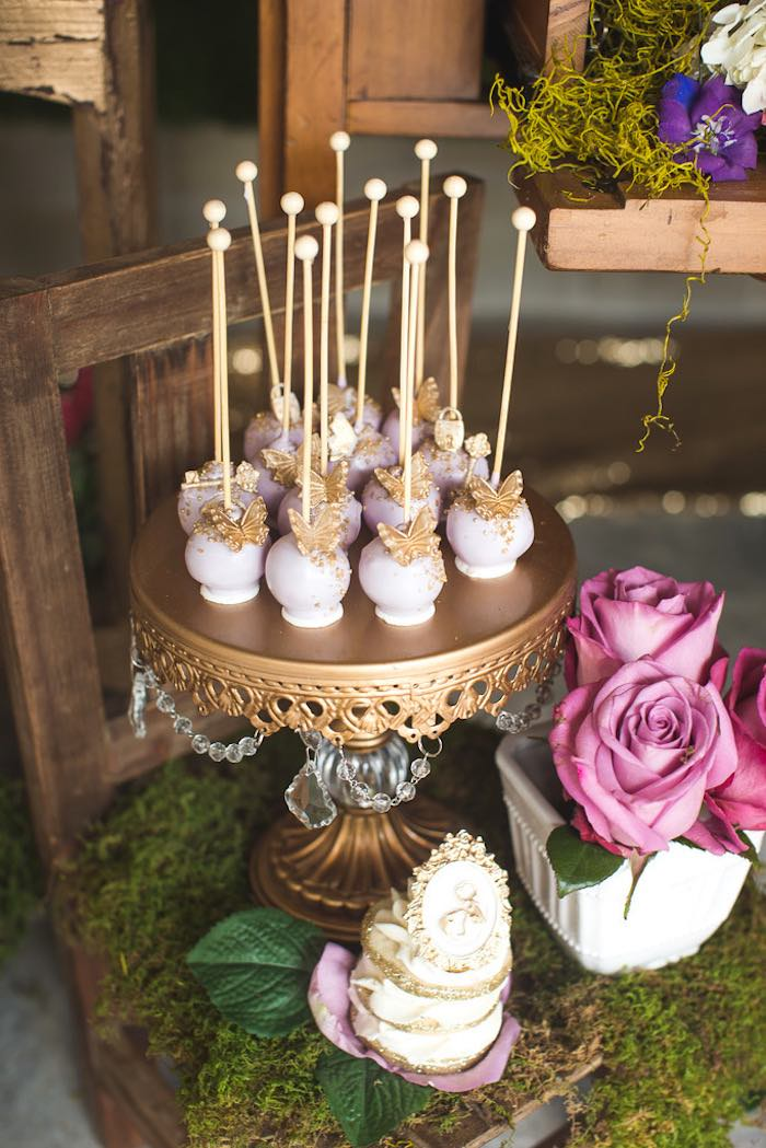 Cake pops from a Vintage Enchanted Garden Birthday Party on Kara's Party Ideas | KarasPartyIdeas.com (37)