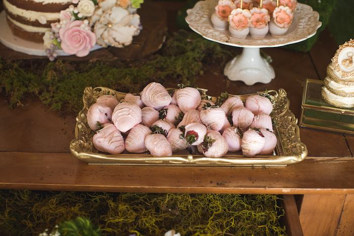 Covered strawberries from a Vintage Enchanted Garden Birthday Party on Kara's Party Ideas | KarasPartyIdeas.com (32)