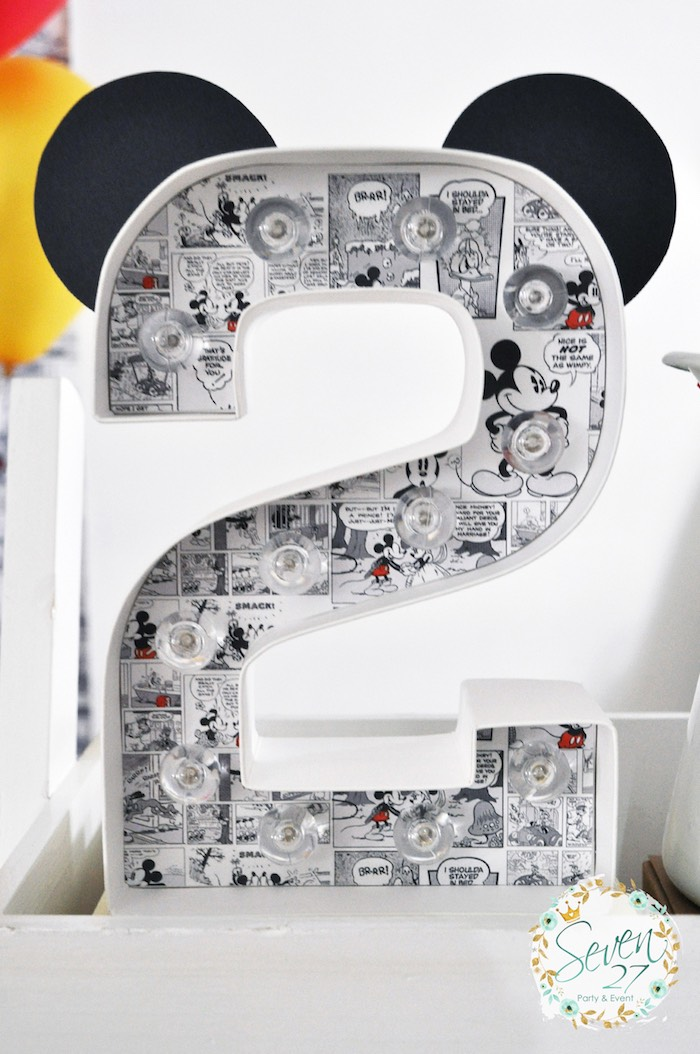 "Adorable comic strip Mickey Mouse ""2"" from a Vintage Mickey Mouse Themed Birthday Party via Kara's Party Ideas 