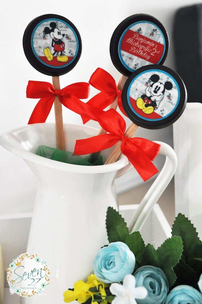 Oreos on sticks from a Vintage Mickey Mouse Themed Birthday Party via Kara's Party Ideas | KarasPartyIdeas.com (35)