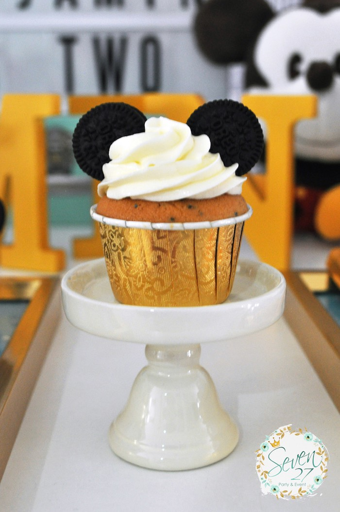 Mickey Mouse cupcake from a Vintage Mickey Mouse Themed Birthday Party via Kara's Party Ideas | KarasPartyIdeas.com (33)