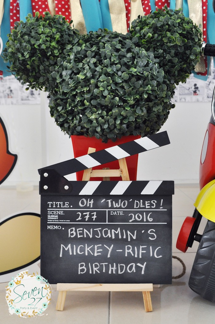 Chalkboard movie clapboard and Mickey Mouse topiary from a Vintage Mickey Mouse Themed Birthday Party via Kara's Party Ideas | KarasPartyIdeas.com (32)