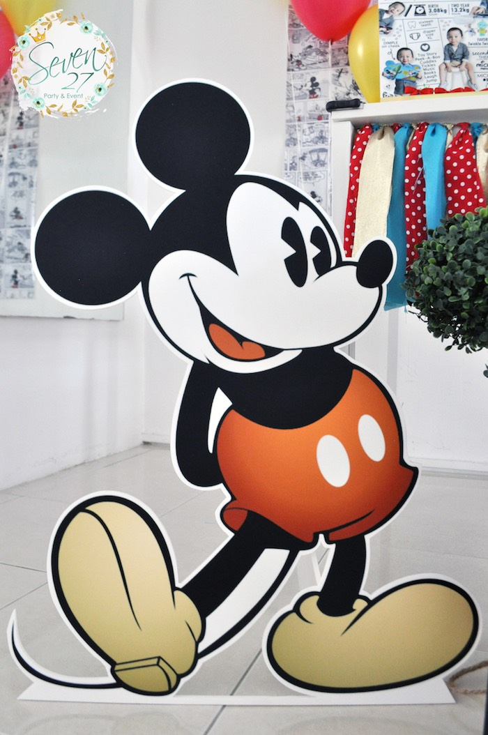 Mickey Mouse standee from a Vintage Mickey Mouse Themed Birthday Party via Kara's Party Ideas | KarasPartyIdeas.com (31)
