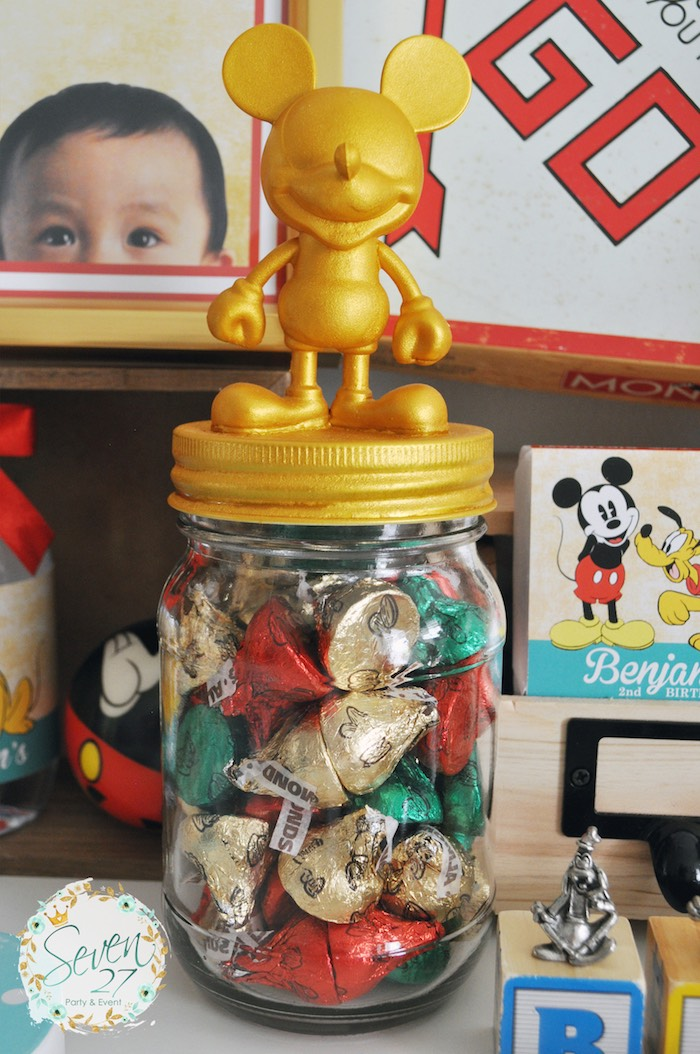 Mickey Mouse mason favor jar from a Vintage Mickey Mouse Themed Birthday Party via Kara's Party Ideas | KarasPartyIdeas.com (30)