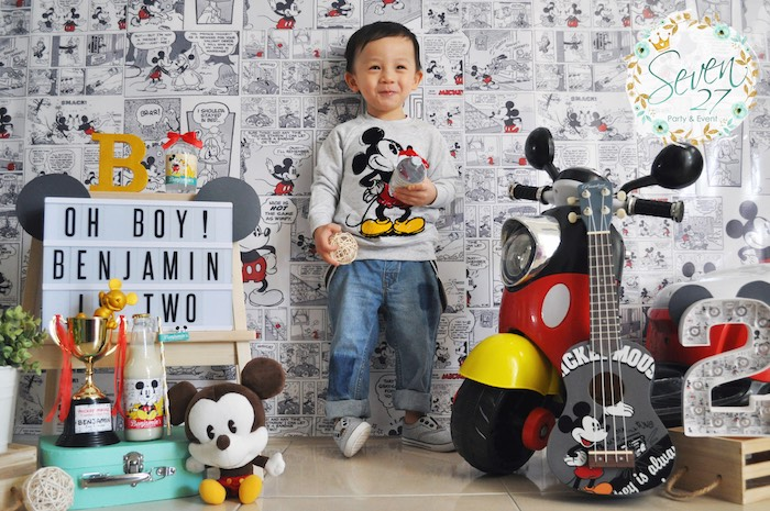Birthday boy from a Vintage Mickey Mouse Themed Birthday Party via Kara's Party Ideas | KarasPartyIdeas.com (45)