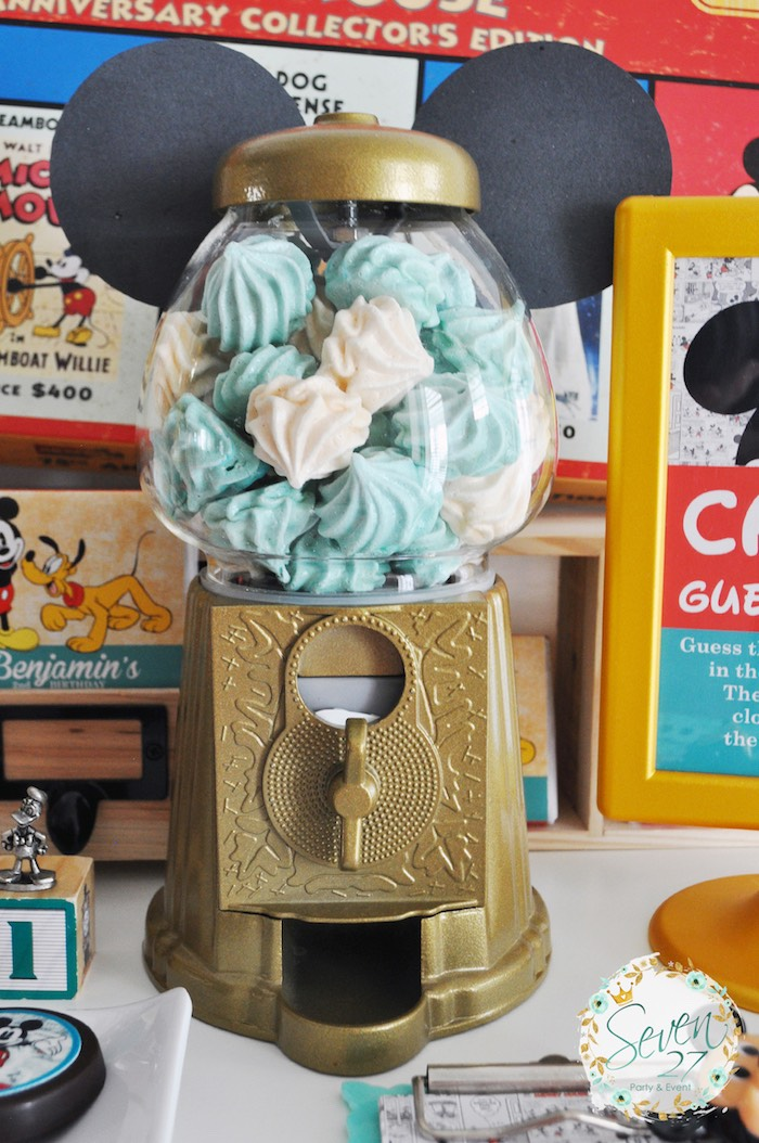 Mickey Mouse gumball machine filled with meringues from a Vintage Mickey Mouse Themed Birthday Party via Kara's Party Ideas | KarasPartyIdeas.com (26)