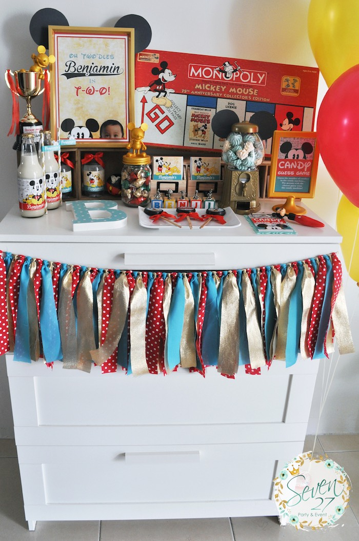 Party table from a Vintage Mickey Mouse Themed Birthday Party via Kara's Party Ideas | KarasPartyIdeas.com (25)