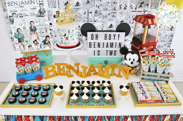 Sweet tablescape from a Vintage Mickey Mouse Themed Birthday Party via Kara's Party Ideas | KarasPartyIdeas.com (22)