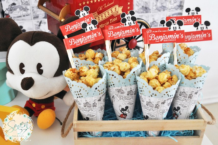 Popcorn cones from a Vintage Mickey Mouse Themed Birthday Party via Kara's Party Ideas | KarasPartyIdeas.com (21)