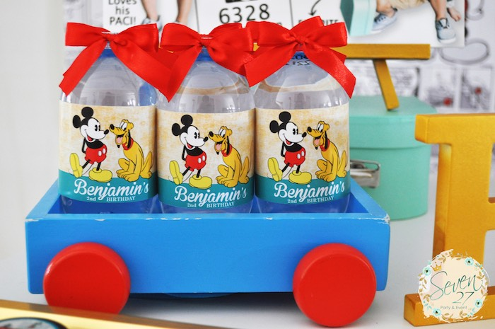 Mickey Mouse water bottles from a Vintage Mickey Mouse Themed Birthday Party via Kara's Party Ideas | KarasPartyIdeas.com (18)