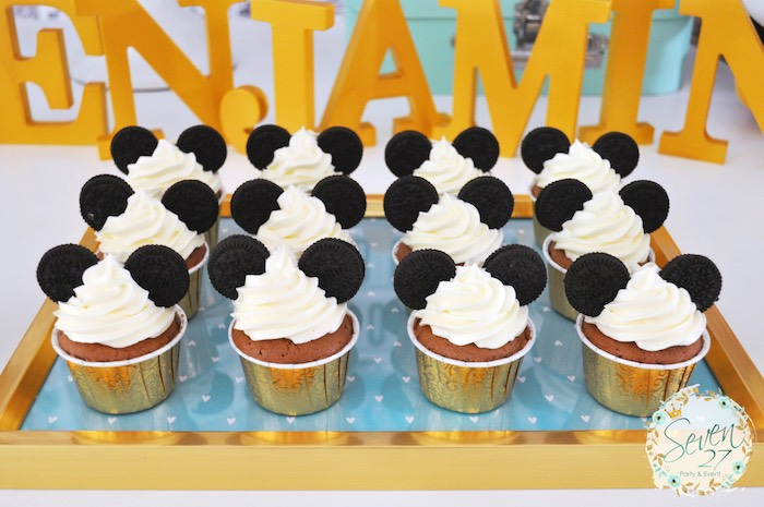 Mickey Mouse Cupcakes from a Vintage Mickey Mouse Themed Birthday Party via Kara's Party Ideas | KarasPartyIdeas.com (17)