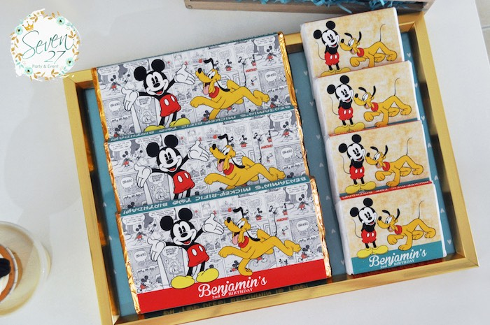 Candy bars + favors from a Vintage Mickey Mouse Themed Birthday Party via Kara's Party Ideas | KarasPartyIdeas.com (16)