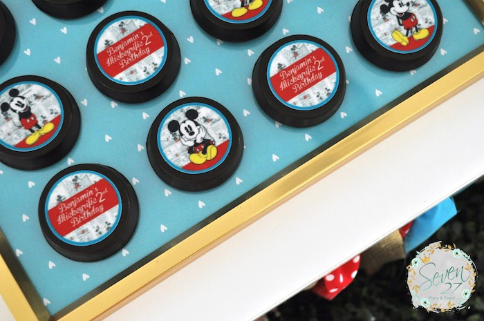 Mickey Mouse Oreos from a Vintage Mickey Mouse Themed Birthday Party via Kara's Party Ideas | KarasPartyIdeas.com (14)