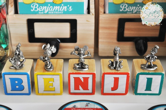 Block letters + Mickey Mouse pewter pieces from a Vintage Mickey Mouse Themed Birthday Party via Kara's Party Ideas | KarasPartyIdeas.com (12)