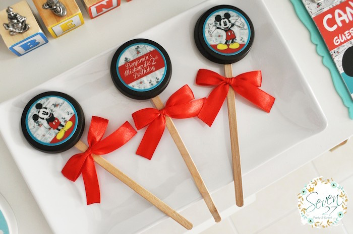 Chocolate covered Oreos on sticks from a Vintage Mickey Mouse Themed Birthday Party via Kara's Party Ideas | KarasPartyIdeas.com (11)