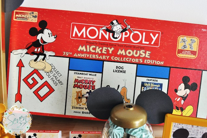 Vintage Monopoly Game used for decoration at a Vintage Mickey Mouse Themed Birthday Party via Kara's Party Ideas | KarasPartyIdeas.com (9)