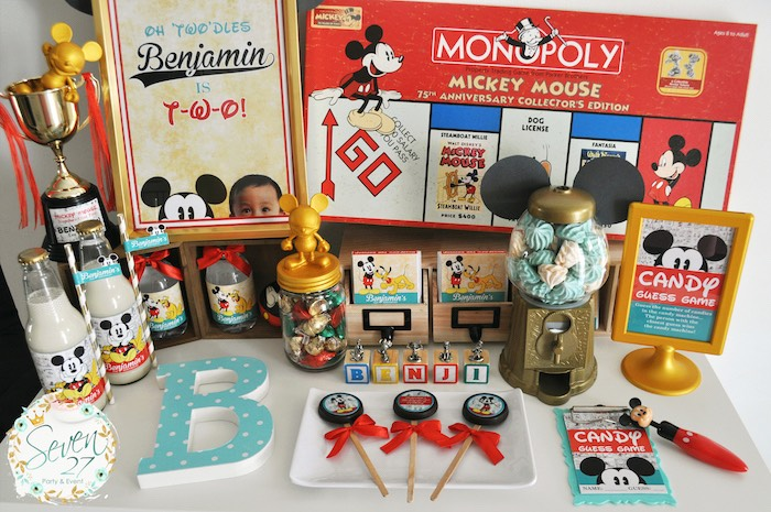 Party table from a Vintage Mickey Mouse Themed Birthday Party via Kara's Party Ideas | KarasPartyIdeas.com (7)