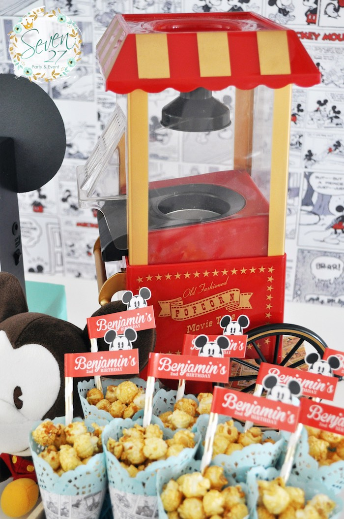 Popcorn popper from a Vintage Mickey Mouse Themed Birthday Party via Kara's Party Ideas | KarasPartyIdeas.com (43)