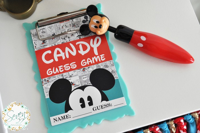 Game clipboard & pen from a Vintage Mickey Mouse Themed Birthday Party via Kara's Party Ideas | KarasPartyIdeas.com (6)