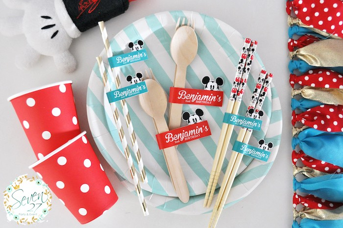 Partyware from a Vintage Mickey Mouse Themed Birthday Party via Kara's Party Ideas | KarasPartyIdeas.com (4)