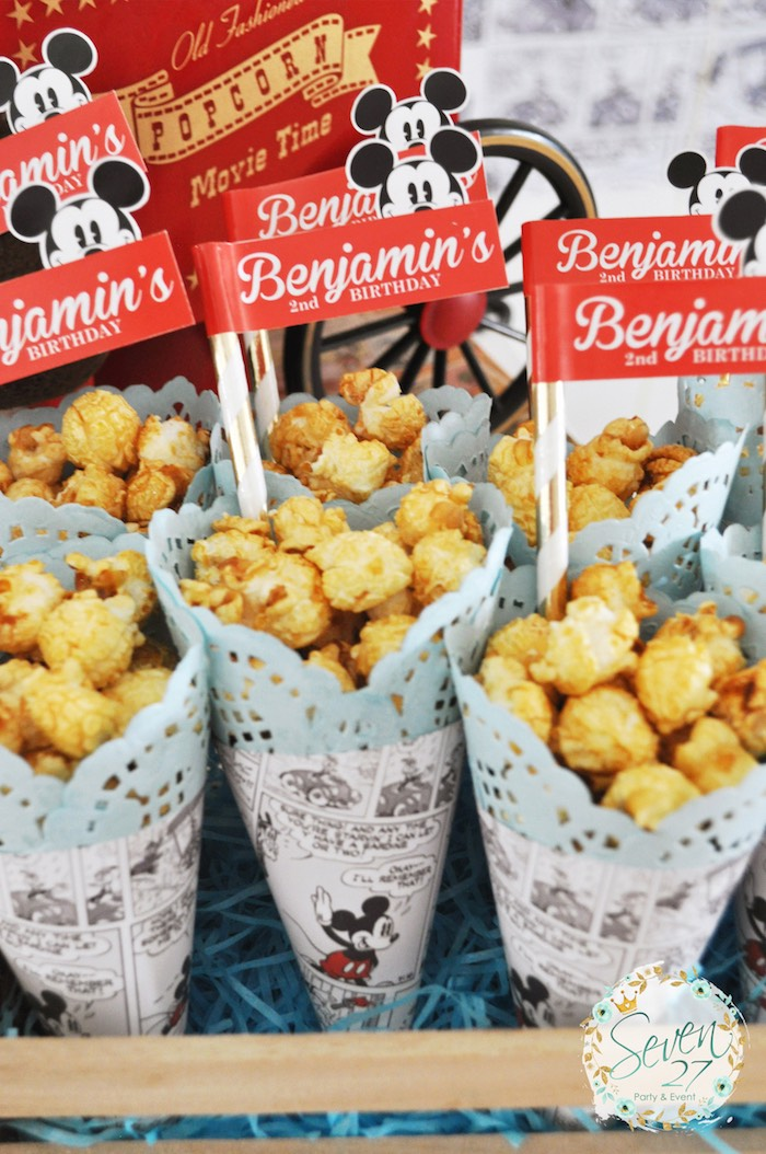 Popcorn from a Vintage Mickey Mouse Themed Birthday Party via Kara's Party Ideas | KarasPartyIdeas.com (41)