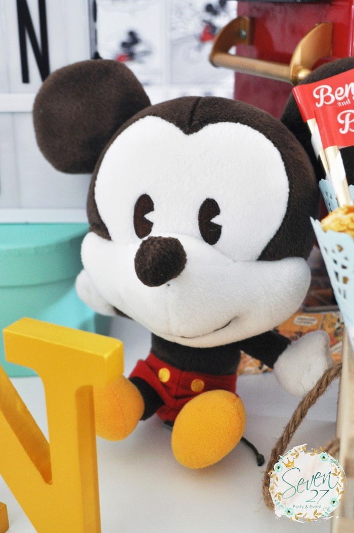 Plush Mickey Mouse from a Vintage Mickey Mouse Themed Birthday Party via Kara's Party Ideas | KarasPartyIdeas.com (40)